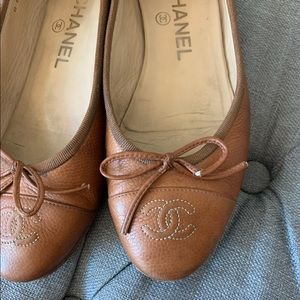 Chanel Flats luggage brown size 35